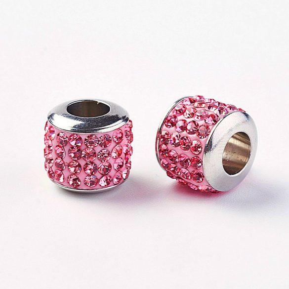 Nemesacél köztes dísz, henger, köves, rózsaszín szín, kb. 10x10 mm (1 db)