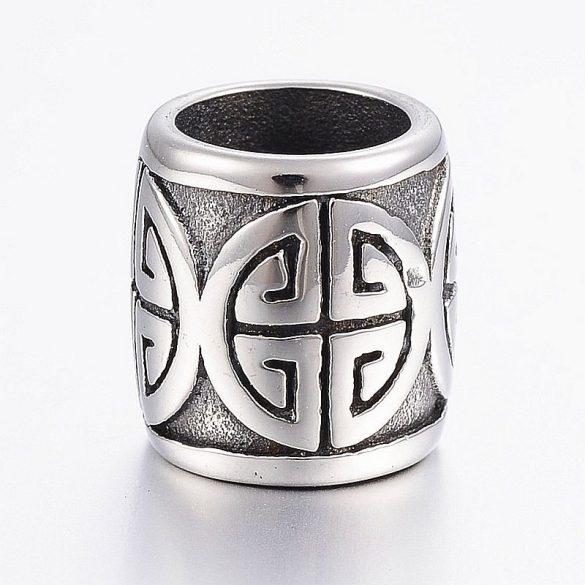 Nemesacél köztes dísz, hordó forma, görög jellegű mintával, kb. 13x12 mm (1 db)