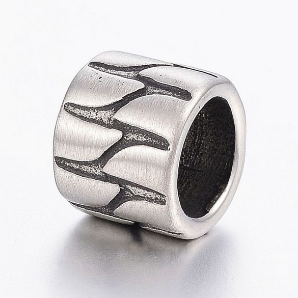 Nemesacél köztes dísz, hordó forma, hullámos mintával, kb. 12x10 mm (1 db)