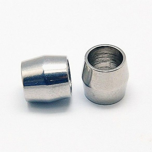 Nemesacél köztes dísz, hordós forma, oszlop, kb. 8x8 mm (1 db)