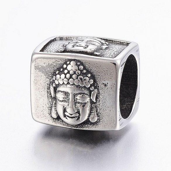 Nemesacél köztes dísz, kocka, Buddha fejjel, kb. 12x13 mm (1 db)