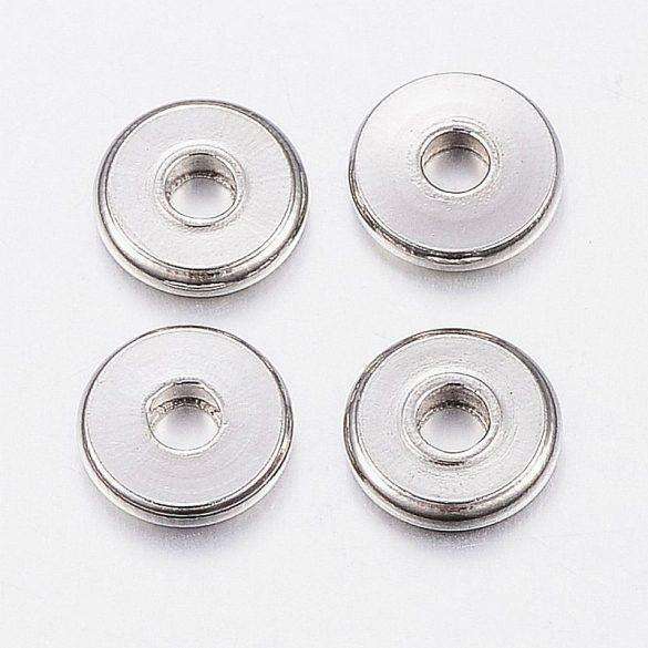 Nemesacél köztes dísz, kerek-lapos, kb. 6x1 mm (20 db)