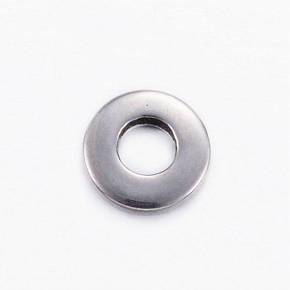 Nemesacél köztes dísz, kerek-lapos, kb. 8x2 mm (10 db)