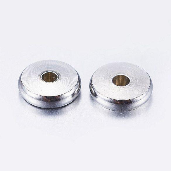Nemesacél köztes dísz, kerek-lapos, szélesebb, kb. 8x2 mm (10 db)