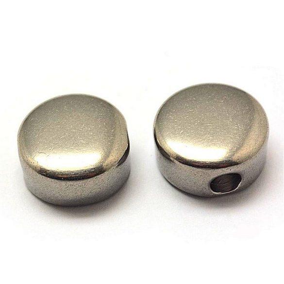 Nemesacél köztes dísz, kerek-lapos, gravírozható, kb. 6x12 mm (2 db)