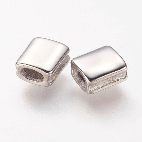 Nemesacél köztes dísz, kicsi tégla, sima, ezüst, kb. 8x7 mm (1 db)