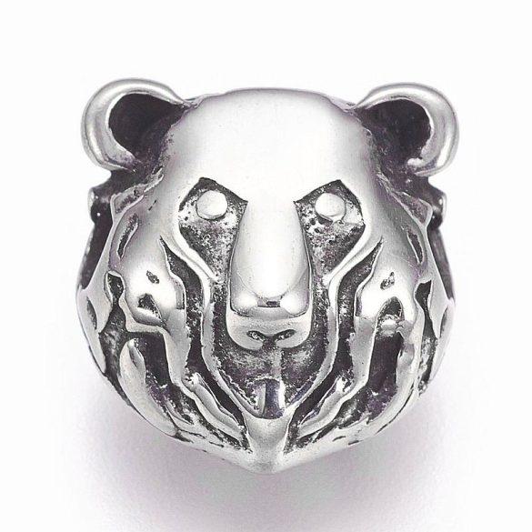 Nemesacél köztes dísz, medve fej (1 db)