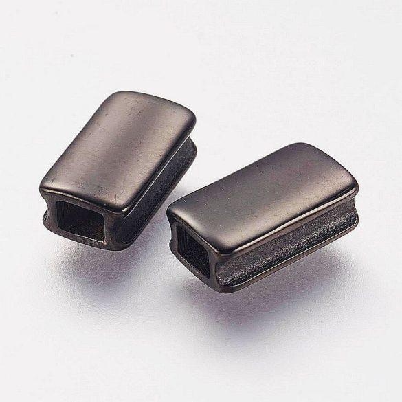 Nemesacél köztes dísz, tégla, sima, fekete, kb. 13x6 mm (1 db)