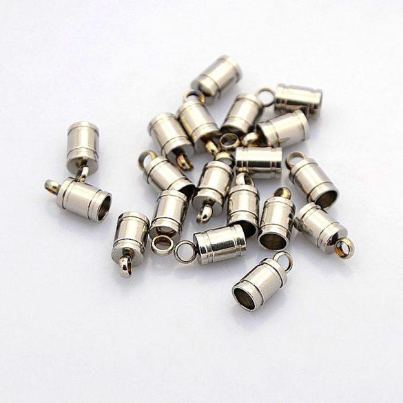 Nemesacél láncvég kupak, csíkos mintával, kb. 5x10 mm (2 db)