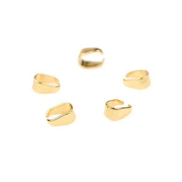 Nemesacél medáltartó, bepattintós, arany színű, kb. 8x5 mm (5 db)