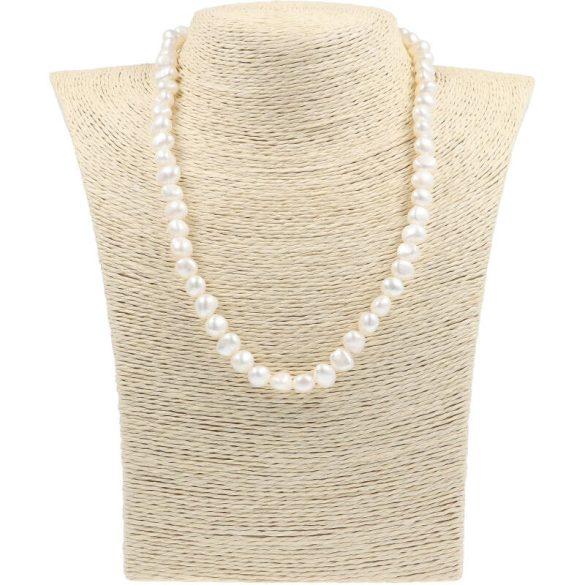 Barokk, fehér tenyésztett gyöngy nyaklánc, 7,5-8,5 mm, 45 cm