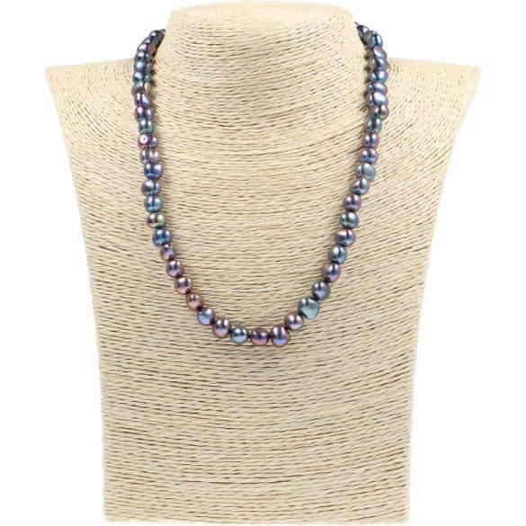 Barokk, fekete tenyésztett gyöngy nyaklánc, 7,5-8,5 mm, 45 cm