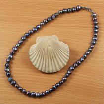 Barokk, fekete tenyésztett gyöngy nyaklánc, 8,5-9,5 mm, 45 cm
