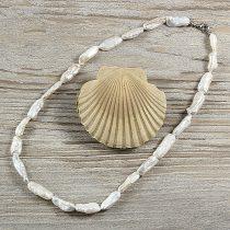 Biwa, fehér, hosszában fúrt tenyésztett gyöngy nyaklánc, 7x20 mm, 45 cm