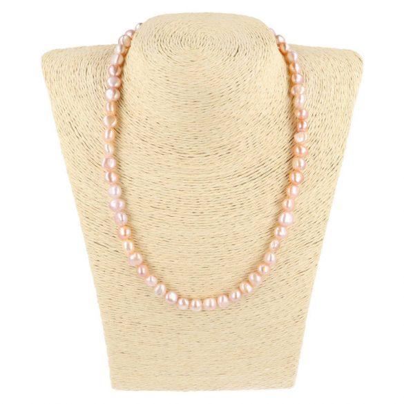 Barokk, lila tenyésztett gyöngy nyaklánc, 8-9 mm, 45 cm