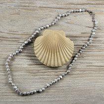 Barokk, szürke tenyésztett gyöngy nyaklánc, 5-6 mm, 45 cm