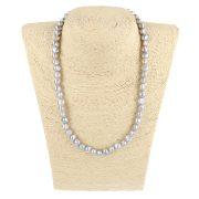 Barokk, szürke tenyésztett gyöngy nyaklánc, 8-9 mm, 45 cm