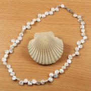 Keshi szürke tenyésztett gyöngy nyaklánc, 6-8 mm, 45 cm