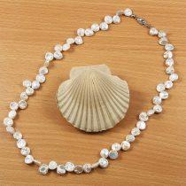 Keshi, szürke tenyésztett gyöngy nyaklánc, 6-8 mm, 45 cm