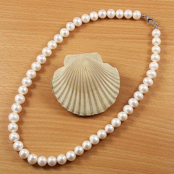 Potátó, fehér tenyésztett gyöngy nyaklánc, 10-11 mm, 45 cm (AA)