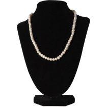 Potátó, fehér tenyésztett gyöngy nyaklánc, 5-5,5 mm, 45 cm (AA)