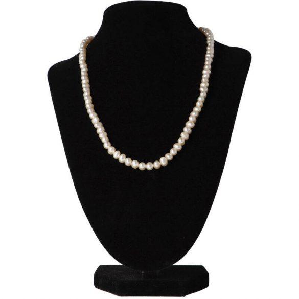 Potátó, fehér, 5-5,5 mm, 45 cm-es nyaklánc (AA)
