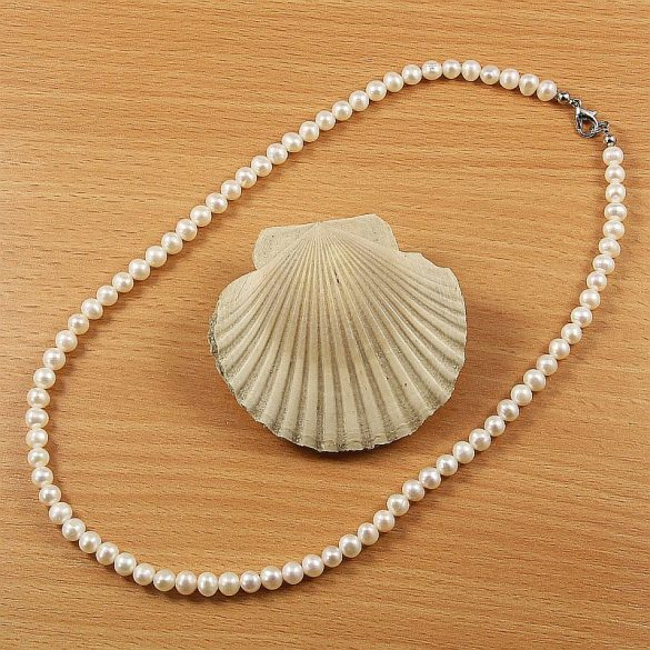 Potátó, fehér tenyésztett gyöngy nyaklánc, 5,5-6 mm, 45 cm (AA)