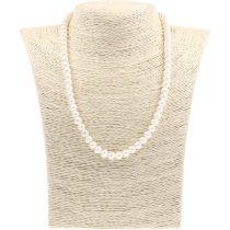 Potátó, fehér tenyésztett gyöngy nyaklánc, 6,5-7 mm, 45 cm (AA)