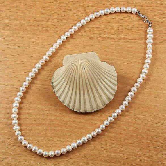 Potátó, fehér tenyésztett gyöngy nyaklánc, 6-7 mm, 45 cm (A)