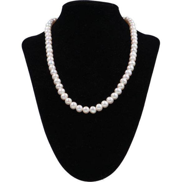 Potátó, fehér tenyésztett gyöngy nyaklánc, 7,5-8 mm, 45 cm (AA)