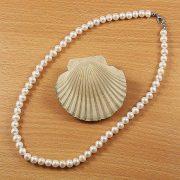 Potátó, fehér tenyésztett gyöngy nyaklánc, 7-7,5 mm, 45 cm (AA)