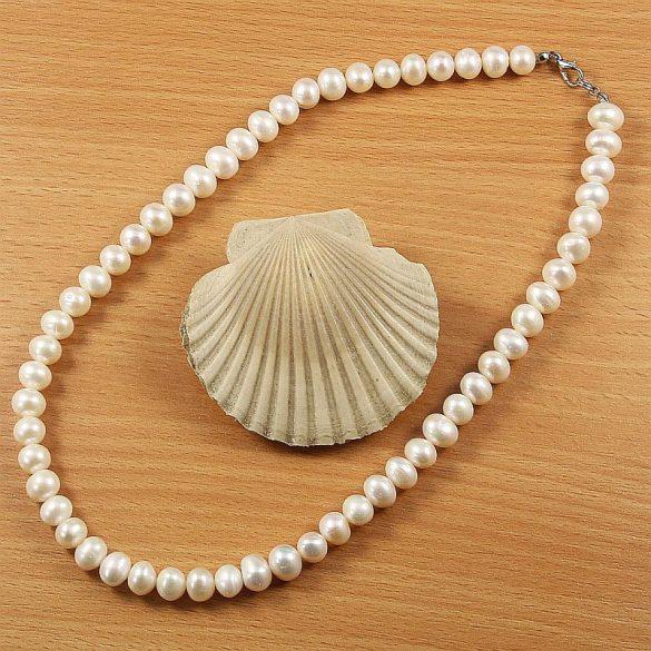 Potátó, fehér tenyésztett gyöngy nyaklánc, 8-8,5 mm, 45 cm