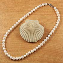 Potátó, fehér tenyésztett gyöngy nyaklánc, 8-8,5 mm, 45 cm (AA)