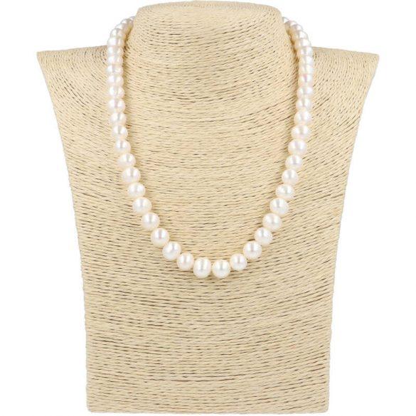 Potátó, fehér tenyésztett gyöngy nyaklánc, 9-10 mm, 45 cm (AA)
