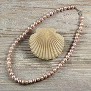 Potátó, lila tenyésztett gyöngy nyaklánc, 8-9 mm, 45 cm