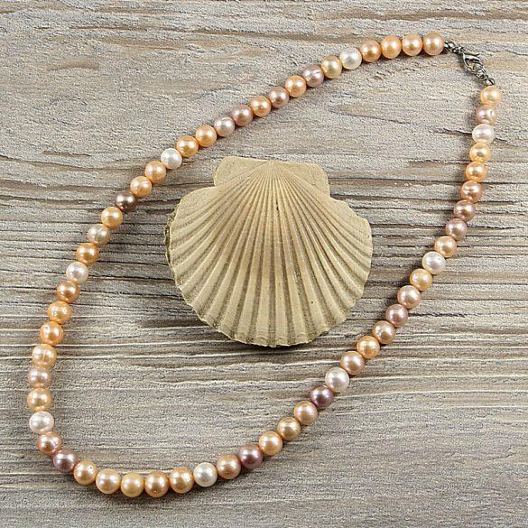 Potátó, multicolor tenyésztett gyöngy nyaklánc, 7,5-8,5 mm, 45 cm