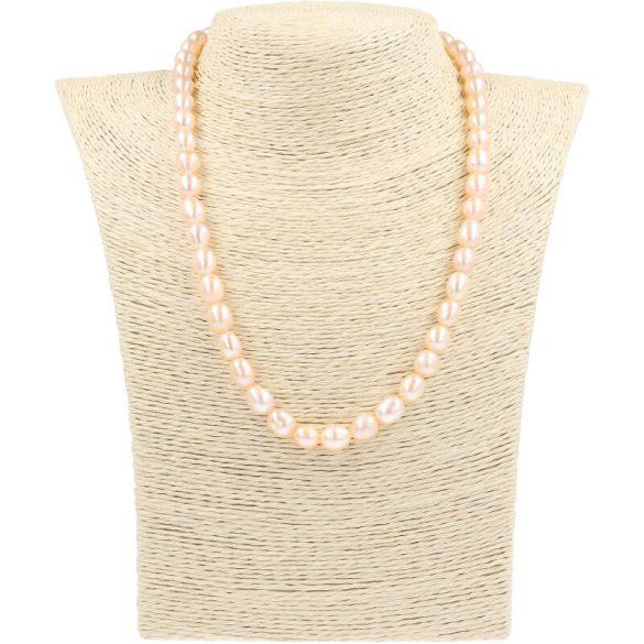 Rizsszemű, barack tenyésztett gyöngy nyaklánc, 7,5-8,5 mm, 45 cm