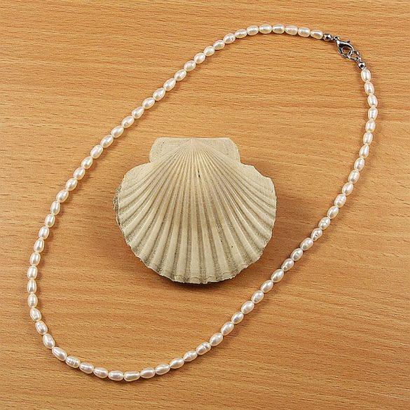 Rizsszemű, fehér tenyésztett gyöngy nyaklánc, 4-4,5 mm, 45 cm (AA)