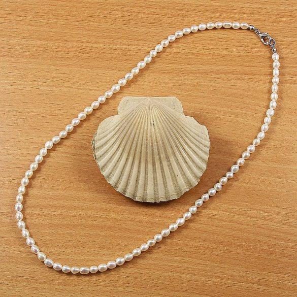 Rizsszemű, fehér tenyésztett gyöngy nyaklánc, 4-5 mm, 45 cm
