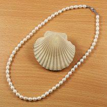 Rizsszemű, fehér tenyésztett gyöngy nyaklánc, 5,5-6 mm, 45 cm (AA)