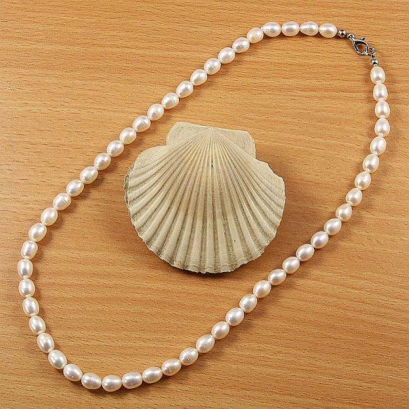 Rizsszemű, fehér tenyésztett gyöngy nyaklánc, 6,5-7 mm, 45 cm (AA)