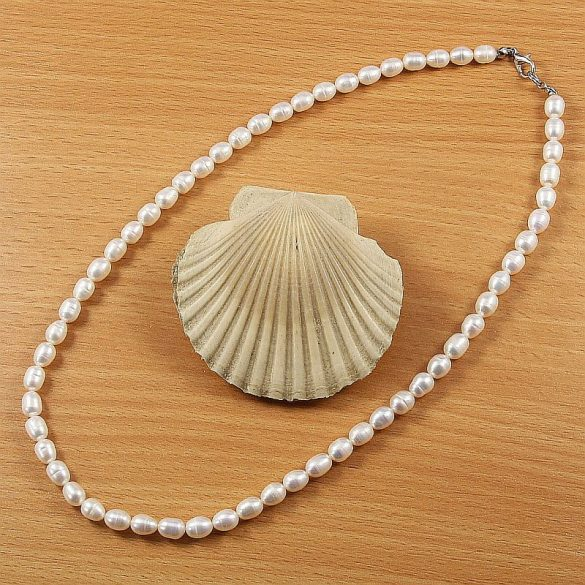 Rizsszemű, fehér, 6-6,5 mm, 45 cm-es nyaklánc