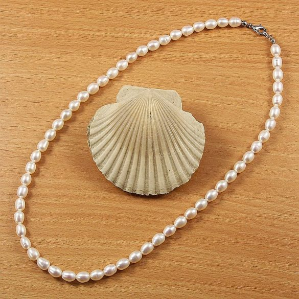 Rizsszemű, fehér tenyésztett gyöngy nyaklánc, 6-6,5 mm, 45 cm (AA)