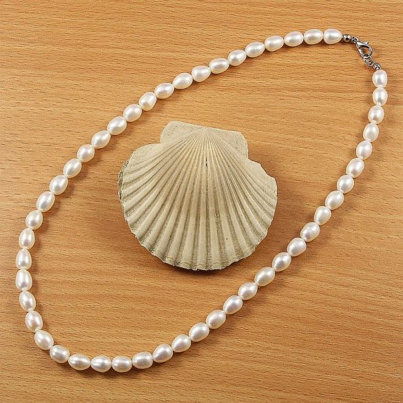 Rizsszemű fehér tenyésztett gyöngy nyaklánc, 7-7,5 mm, 45 cm (AA)