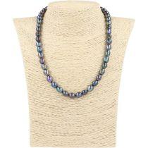 Rizsszemű, fekete tenyésztett gyöngy nyaklánc, 8-9 mm, 45 cm