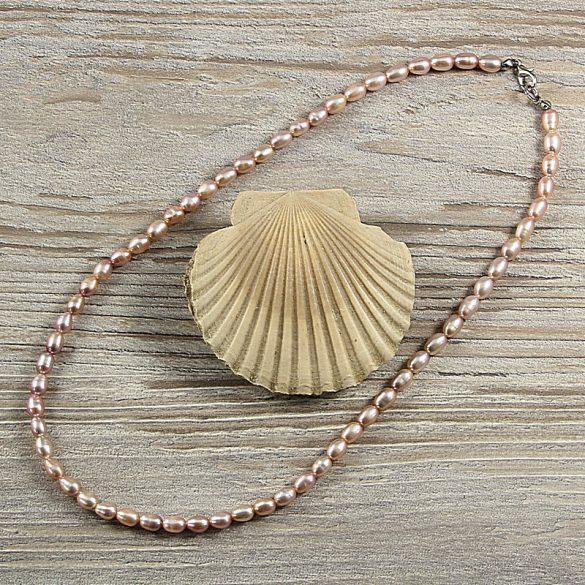 Rizsszemű, lila tenyésztett gyöngy nyaklánc, 5-6 mm, 45 cm
