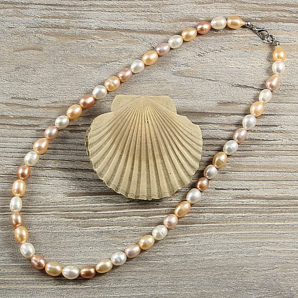 Rizsszemű, multicolor tenyésztett gyöngy nyaklánc, 8-9 mm, 45 cm