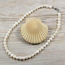 Barokk, fehér tenyésztett gyöngy nyaklánc, 7,5-8,5 mm, 40 cm