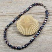 Barokk, fekete tenyésztett gyöngy nyaklánc, 7,5-8,5 mm, 40 cm