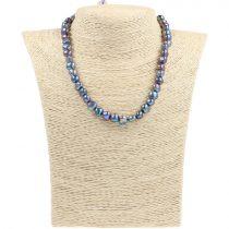 Barokk, fekete tenyésztett gyöngy nyaklánc, 8,5-9,5 mm, 40 cm